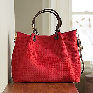 View Italian Woven Suede Tote Bag image