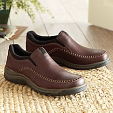 Men's Topstitched Leather Travel Shoes