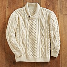 100% Wool Irish Shawl-Collar Sweater