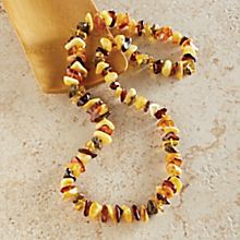 Handcrafted Lithuanian Tricolor Amber Necklace