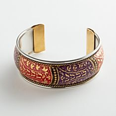 Hand-Painted Wide Crystal Palace Brass Bracelet