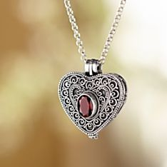 Handcrafted Balinese Garnet Locket