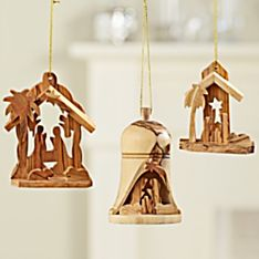 Handcrafted Holy Land Olive-Wood Nativity Ornaments