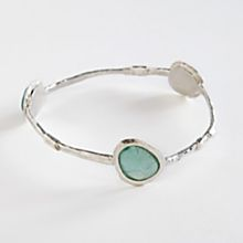 Roman Glass and Silver Bangle Bracelet, Made in Israel
