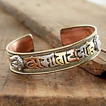 Handcrafted Tibetan Mantra Copper Bracelet