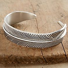 Handcrafted Navajo Silver Feather Cuff Bracelet