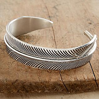 View Navajo Silver Feather Cuff Bracelet image