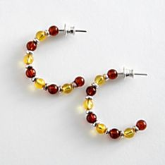 Amber Hoop Earrings, Handmade in Poland