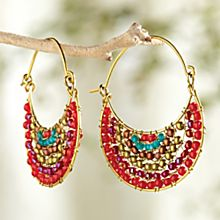 Handcrafted Maya Beaded Crescent Earrings