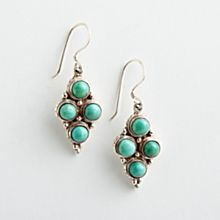 Handcrafted Four-Stone Turquoise Earrings