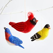 Felted Wool Songbird Ornaments - Set of 3, Made in Nepal