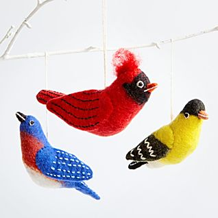 View Felted Wool Songbird Ornaments - Set of 3 image