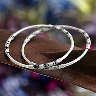 View Balinese Sterling Silver Scroll Bangle Bracelets - Set of 2 image