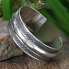 Handcrafted Sterling Silver Hill-Tribe Cuff Bracelet