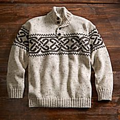 Natural Irish Celtic Wool Pullover, Made in Ireland