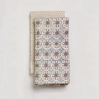 View Bleu D'Chine Hand-printed Tea Towels - Set of 2 image