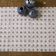 100% Cotton Bleu D'chine Hand-Printed Table Runner