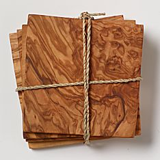 North African Olive-Wood Coasters - Set of 4
