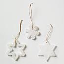 Snowflake Alabaster Ornaments - Set of 3