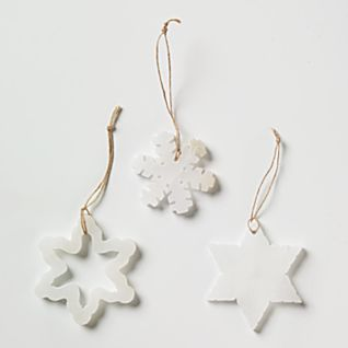 Snowflake Alabaster Ornaments - Set of 3