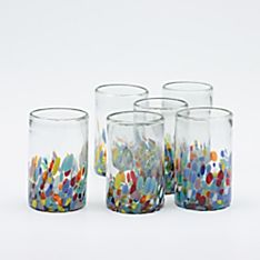 Handblown Confetti Glasses - Set of 6, Made in Tonalá, Mexico