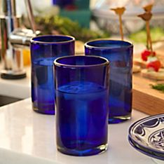 Handblown Cobalt Blue Glasses - Set of 6