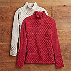Women's Irish Aran Trellis Turtleneck Sweater