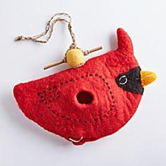 100% Wool Nepali Felted Cardinal Birdhouse