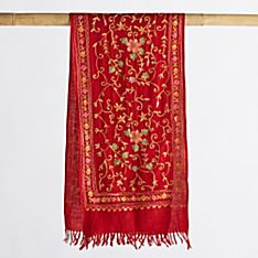 Kashmiri Wildflower Wool Scarf, Made in India