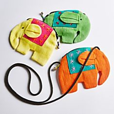 100% Cotton Thai Elephant Lucky Coin Purse - Set of 3