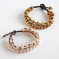 Handcrafted Three Sisters Waxed Linen and Pearl Bracelet