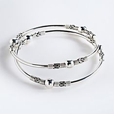 Ubud Sterling Silver Bangle Bracelets - Set of 2, Made in Bali