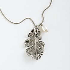 Lacy Oak-Leaf Necklace, Handmade in California