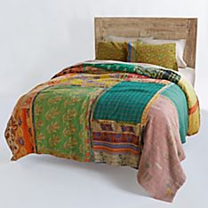 100% Cotton Handcrafted Reversible Vintage Kantha Quilt with Green Paisley Shams