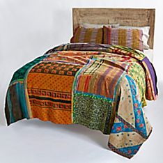 Reversible Vintage Kantha Quilt with Purple and Yellow Stripe Shams