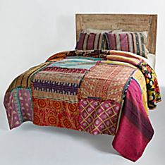 Reversible Vintage Kantha Quilt with Gray and Purple Shams