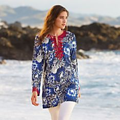 100% Cotton Floral Ari-Embroidered Tunic