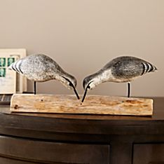 Wooden Hand-Carved Sandpipers