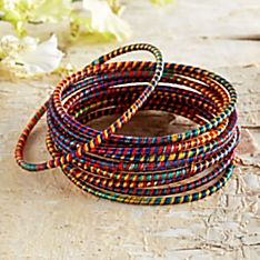 Indian Silk-Wrapped Bracelets - Set of 12