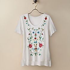 Women's Embroidered Jaal-Inspired T-Shirt