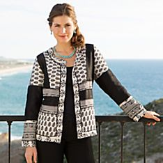 Women's Indian Black & White Block-Printed Jacket