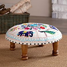 100% Cotton Elephant and Peacock Embroidered Footstool