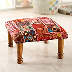 Rajasthani Embroidered Foot Stool, Made in India