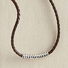 Indonesian Javanese Silver Braided-Leather Necklace