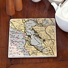 Personalized Handcrafted Nautical Chart Customized Trivet