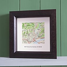 ''My Town'' Custom Framed Topographical Map