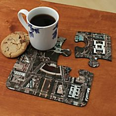 Personalized 'my Town' Aerial Photo Coasters - Set of 4