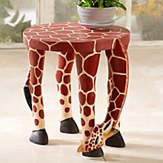East African Kenyan Giraffe Accent Table