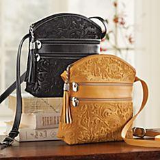 Florentine Suede Embossed Floral Bag