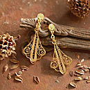 Peruvian Gold-vermeil Filigree Earrings
